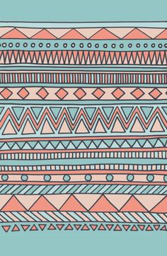 Tribal #4 (Coral/Aqua) Art Print by Haleyivers | Society6