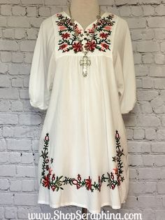 BOHO Floral Embroidered White Tunic