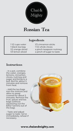 The Russian Tea is not only tasty but also healthy. It contains the benefits of black tea, orange, lemon and cloves. It is very refreshing to have after a long tiring day! Yummy Drinks, Healthy Drinks, Alcoholic Drinks, Beverages, Cocktails, Plat Vegan, Orange Tea, Coffee Recipes, Hot Tea Recipes