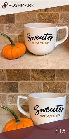 Sweater Weather lg fall coffee/soup mug 27oz white 27oz stoneware phrase sweater weather on the front and back of mug dishwasher and microwave safe Other
