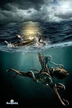 El Kraken by oscargrafias on DeviantArt Fantasy Creatures, Mythical Creatures, Sea Creatures, Octopus Tattoos, Octopus Art, Monster Art, Old Illustrations, Kraken Art, Images Gif