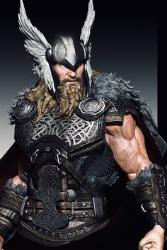 Dear Collectors and Friends, this Thor ¼ statue from Caleb Nefzen will be produced by XM Studios. THOR Color Scheme WIP posted by Caleb Nefzen. Thor Norse, Thor 1, Viking Art, Viking Warrior, Marvel Heroes, Marvel Comics, The Mighty Thor, Norse Mythology, Comic Character
