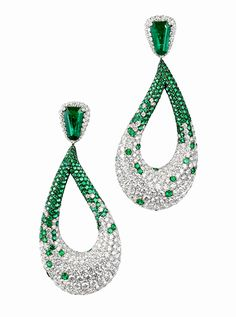 White gold, diamond and emerald earrings - Gruosi