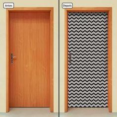 adesivo de porta - chevron - preto e cinza - 162mlpt