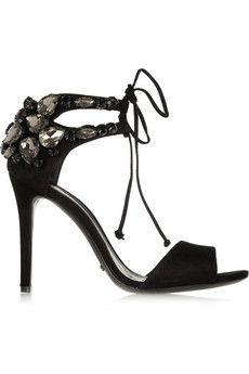 Schutz Crystal-embellished suede sandals   THE OUTNET