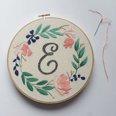 """E"" is for Elizabeth - it's the middle name I share with my grandma. She's the person who taught me how to embroider and has been my biggest supporter as I've started my shop. Love you Grandma Beth! by threadhoney"