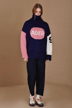 Yet another reason to love ADER Error is this graphic oversized sweater as featured in our Scritpted Knits Trend Alert Kids Sportswear, Androgynous Fashion, Ader Error, Fashion Flats, All About Fashion, Colorful Fashion, Korean Fashion, Knitwear, Vintage Outfits