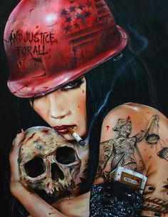 Seductive Femme Fatale Paintings by Brian M. Viveros.. im likeing the metallica ref.
