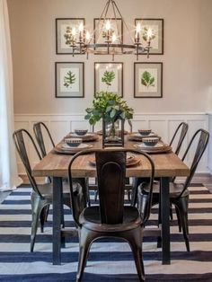 Home Remodel Modern Farmhouse dining room inspiration. Combining stripes with floral prints.Home Remodel Modern Farmhouse dining room inspiration. Combining stripes with floral prints. Farmhouse Dining Room Table, Dining Room Walls, Dining Room Design, Rustic Farmhouse, Farmhouse Design, Farmhouse Ideas, Dining Area, Dining Tables, Industrial Farmhouse Decor