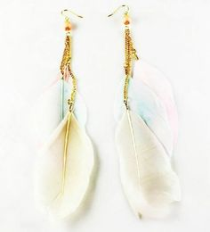Elegant Three Color Feather Earrings