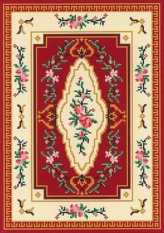 Museum Quality Miniature Petitpoint, Joy Perkins, proprietor, all rights reserved, MMXII - Traditional Rugs Cross Stitch Love, Cross Stitch Borders, Cross Stitch Patterns, Diy Embroidery, Cross Stitch Embroidery, Tapete Floral, Dolls House Shop, Dollhouse Accessories, Traditional Rugs