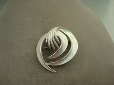 70's MAD MEN Vintage Trifari Brushed Silver Brooch on Etsy