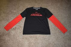 Under Armour Red Dynamism 2-in-1 Boys Running Long Sleeve UA Shirt Size YXLG X L #UnderArmour #Everyday