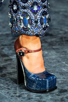 Louis Vuitton  Square toes suddenly feel new again — the charmingly clunky platforms at Miu Miu, Prada, and Louis Vuitton all had them. This Mary Jane version stands out with its fresh mix of brown and navy with just a hint of sparkle in the rhinestone closure.  (from nymag.com's Best of Fall 2012 Shoes)
