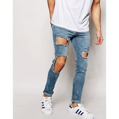 ASOS Super Skinny Jeans With Open Rips ($57) ❤ liked on Polyvore featuring men's fashion, men's clothing, men's jeans, mens light wash jeans, mens distressed skinny jeans, mens destroyed jeans, mens ripped skinny jeans and mens skinny fit jeans