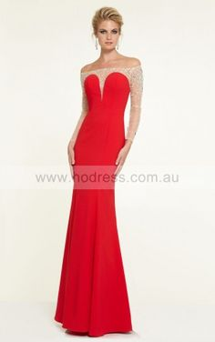 Off The Shoulder Long Sleeves Sheath Zipper Floor-length Formal Dresses afbb1137--Hodress