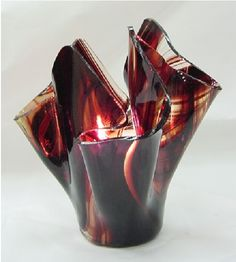 Vase candle holder amber iridized vase pictured from the for Clear baroque glass