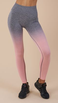 Gym legging must-haves. The Ombre Seamless Leggings have a high waist fit, ribbed detailing and contour shading, ensuring lasting comfort and a stay-put feel during those tough workouts. Coming soon in Peach Pink and Charcoal.