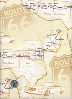 Route 66 Map Fabric on Etsy.