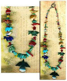 """Southwest Animal Fetish Necklace 20""""Amber Malachite Fish Turquoise Zuni Bears   eBay"""