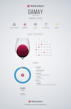 "Gamay (""Gam-may"" aka Gamay Noir) is a light-bodied red wine that's similar in taste to Pinot Noir. With flavors of raspberry, cherry, violet, black currant and subtle notes of potting soil... #wine #education #infographic"