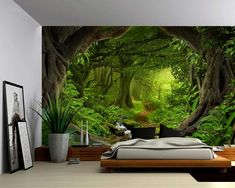 Wall Murals Bedroom, Large Wall Murals, Removable Wall Murals, Bedroom Decor, 3d Wall Murals, Bedroom Sets, Wall Art, Wallpaper Wall, Forest Wallpaper
