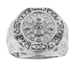 925 WP 0.10Ct-Dia Fashion Mens Ring: Ring