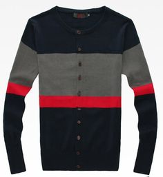 Men Fashion Color Blocking Design Long Sleeve As Picture Knitting Cardigan M/L/XL@S5MY12-1ap