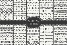 10 Ethnic Seamless Patterns Graphics Set of 10 hand drawn geometric ethnic seamless pattern. Wrapping paper. Scrapbook paper. Doodles sty by Krolja