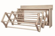 Large Amish Handmade Soft Maple Wood Wall Unit Clothes Drying Rack Dowel (BOX: x x Lancaster, PA Amish Carpenter It's What the Amish Use! Well constructed, designed for excellent air Laundry Drying Rack Wall, Laundry Hanger, Clothes Drying Racks, Laundry Room Storage, Laundry Room Design, Closet Storage, Clothes Dryer, Laundry Rooms, Wall Shelves