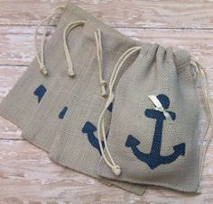Items similar to Burlap Wedding Favors or Gift Bags with Navy Blue Anchor on Etsy Nautical Favors, Nautical Wedding Theme, Nautical Gifts, Nautical Party, Nautical Bags, Anchor Party, Anchor Wedding, Vintage Nautical, Burlap Wedding Favors