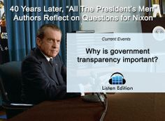 """How did """"All The President's Men"""" impact #Nixon? Listen to this story to learn more: http://www.listenedition.com/2014/06/15/40-years-later-all-the-presidents-men-authors-reflect-on-questions-for-nixon/"""