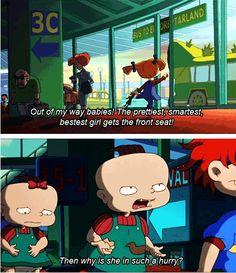 Rugrats!!! One of the best cartoons ever! Love that Phil is lookin out for Lil!! Lil looks so sad and self conscious back there!