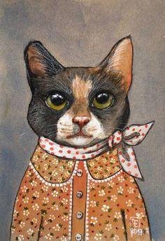 PIPPA cat portrait# cat art#animal portrait#eva fialka#cat painting#