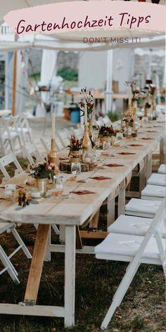 Viele Tipps wie eure Gartenhochzeit das perfekte Hochzeitsfest wird! Dies kann natürlich auch auf alle anderen Feste übertragen werden.  #gartenhochzeit #sommerhochzeit #zelthochzeit #bohowedding #heiraten #hochzeit #wedding #weddingdecoration Table Settings, Table Decorations, Outfits, Party, Awesome Wedding Ideas, Outside Wedding, Wedding Photography, Getting Married, Handy Tips