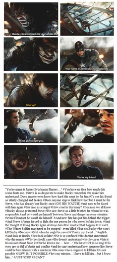 Who could still love Bucky when he is just a weapon? Who could still love anyone no matter what the world has made them?