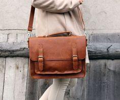 Nice brown leather messenger bag leather satchel by Lemum