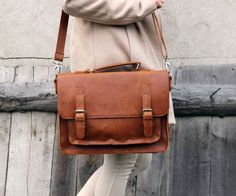 Nice brown leather messenger bag leather satchel by Lemum