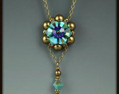 Florecen de cristal y perlas collar Beadwoven Abalorio
