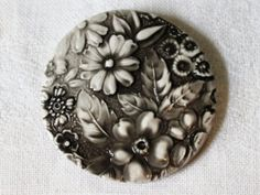 Lovely Extra Large Floral Porcelain Button Shades of Button Flowers, Grey Paint, Black Eyed Peas, 3 D, Porcelain, Buy And Sell, Shades, Buttons, Floral