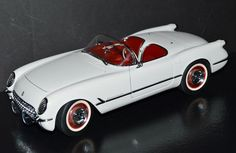 AutoArt 1/18 Die Cast Car 1953 Chevrolet Corvette Cabriolet White, red #71081 #AUTOart #Chevrolet