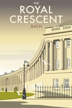 The Royal Crescent (DT42) Town and City Travel Print. Bath, Somerset, South West England, UK. || by Dave Thompson www.thewhistlefish.com/product/dt42f-the-royal-crescent-framed-art-print-by-dave-thompson