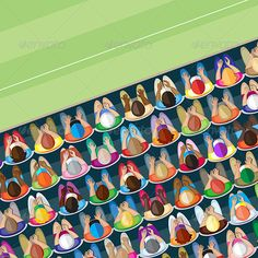 Eagle nation- Crowd – overhead view     #GraphicRiver         Elevated view of a large group of adult spectators enjoying a sports event. Mixed age, sex and race. Individuals separately grouped.   Artwork extends outside the clipping