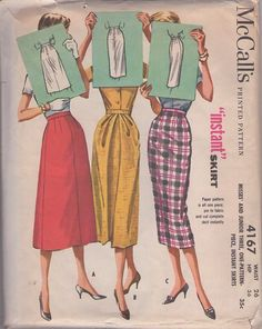 McCall's 4167 Vintage 50's Sewing Pattern AMAZING Easy to Sew 1 Piece Instant Skirt Set, Pin Up High Waisted, Draped Pleated Front Evening, 3 Styles