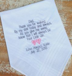 DAD from BRIDE Wedding heirloom handkerchief custom embroidered personalized hankie gift embroidery father daddy, $25.00