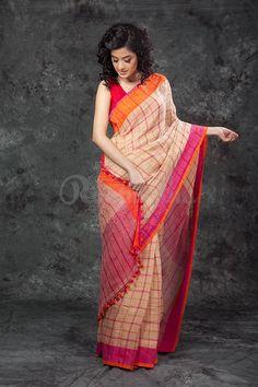 Beige Organic Linen Saree With Pompom & Dual Tone Border-LN001800119