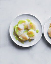 This amazingly simple recipe from chef Eric Ripert features thin slices of raw sea scallops topped with a sauce made from lime juice, wasabi and fresh ginger. Buy the freshest, highest-quality scallops you can find: The success of the recipe depends on it.Slideshow: More Scallop Recipes