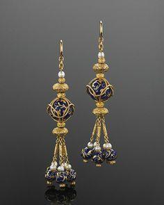 Yellow Gold Blue Enamel Ball and Pearl Drop Tassel Earrings, circa 1820