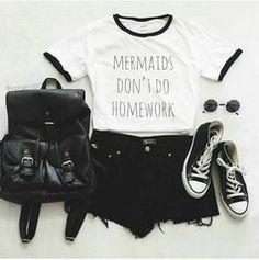 Mermaids Dont Do Homework White Ringer T shirt - Fresh-tops.com