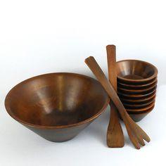 MCM Walnut Salad Bowl Set